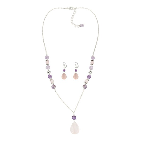 Pearlz Ocean Fashionable Rose Quartz, Amethyst, Rose Quartzite Beaded Necklace and Earrings Trendy Jewelry Set for Women