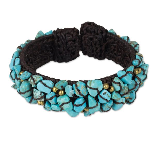 Handmade Brass 'Sky Blue Day' Calcite Bracelet (Thailand) 21355676