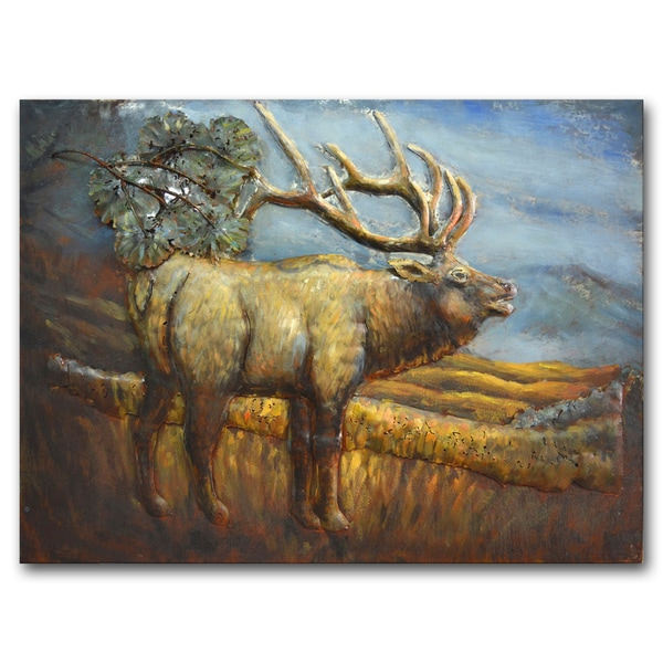 Benjamin Parker 'Elk on the Range' 24-inch x 31-inch Raised Metal Wall Art