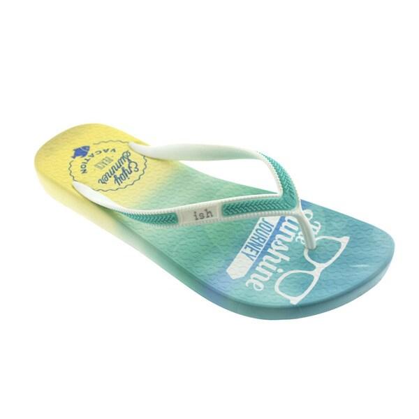 Ish Women's Blue Coastline Teal and White Summer Flip-flop Sandal Shoes