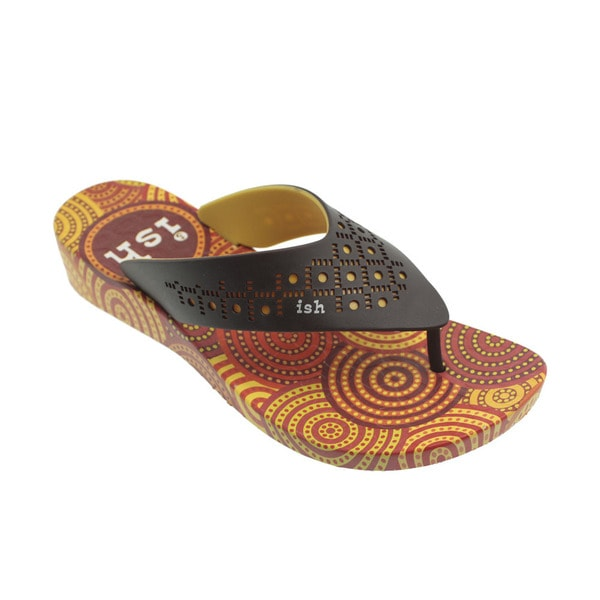 Ish Women's Donuts Orange and Brown Wedge Sandals