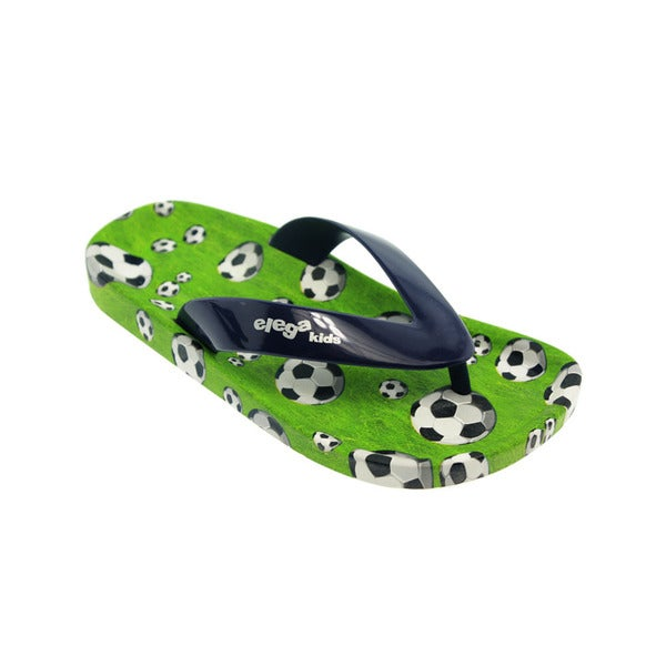 Ish Kids' Little Navy and Green PVC Soccer Flip Flop Sandals Summer Shoes