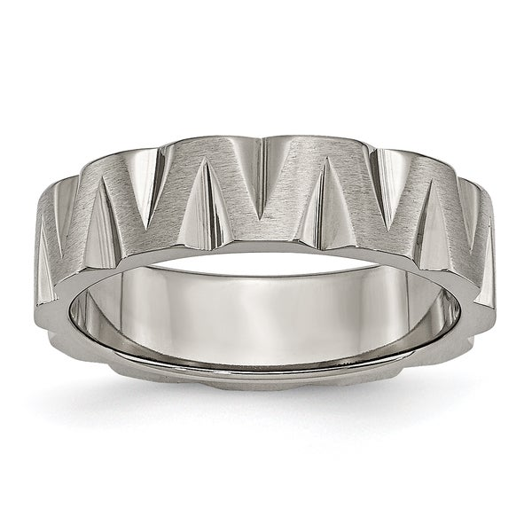 Titanium Notched 6mm Satin and Polished Band