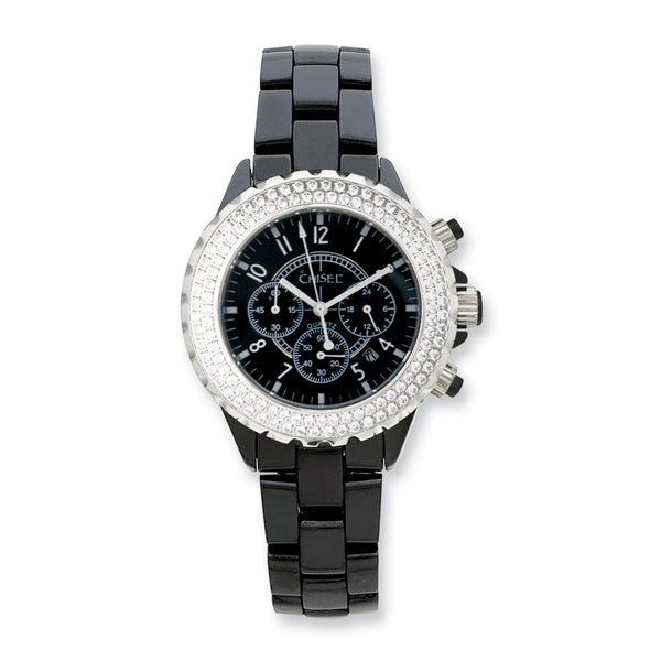 Mens Chisel Black Ceramic Cubic Zirconia Bezel Chronograph Watch