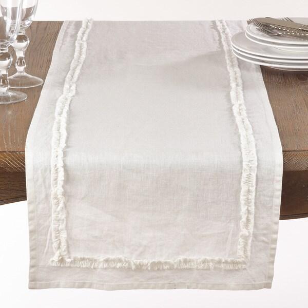 Ruffled Linen Table Runner