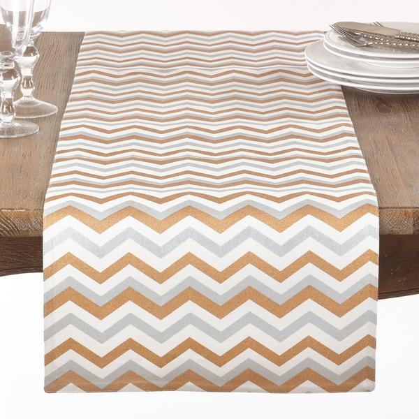 Gold and Silver Chevron Table Runner