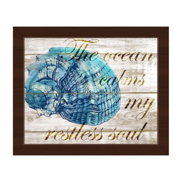 Ocean Calms My Restless Soul' Framed Ready-to-hang Canvas Wall Art