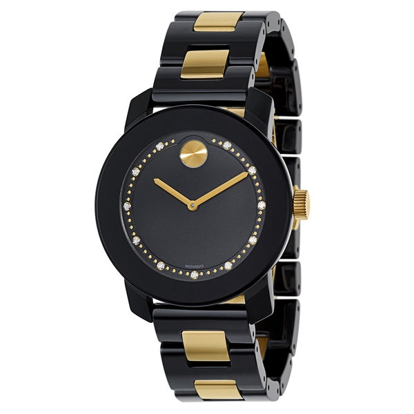 Movado Women's Black/Goldplated Stainless Steel Ceramic Bracelet Watch 21359473