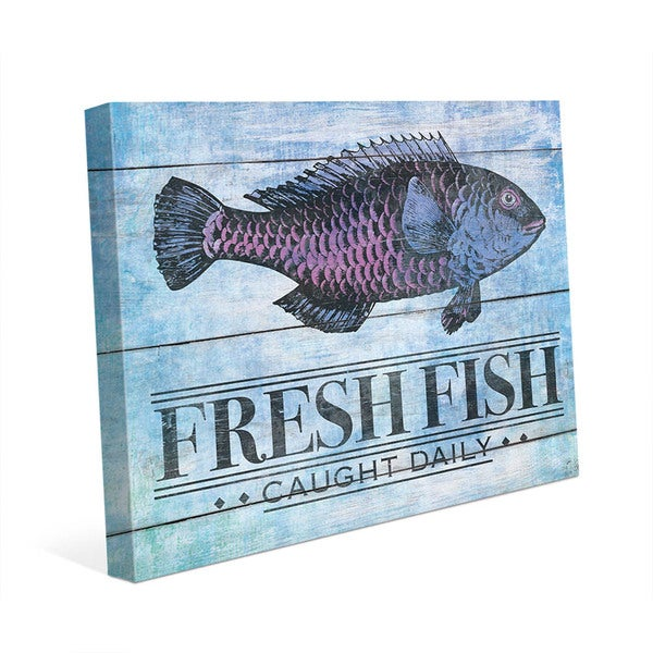 Fresh Fish' Blue Canvas Wall Art