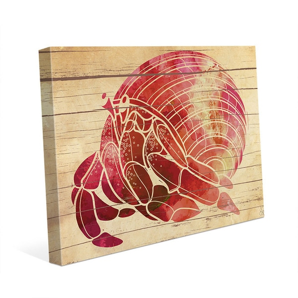 Fiery Watercolor Hermit Crab' Canvas Wall Art