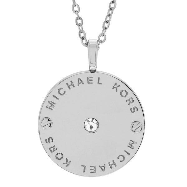 Michael Kors Stainless Steel Crystal Accent Logo Disc Necklace