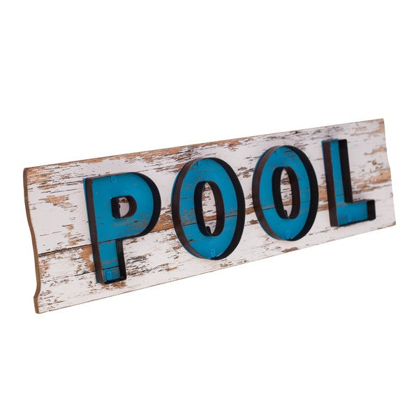 Blue/White Wood Pool Plaque