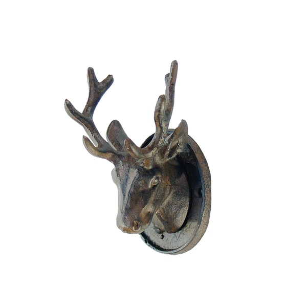 Stag Brown Metal Figurine Wall Art With Antler Hooks