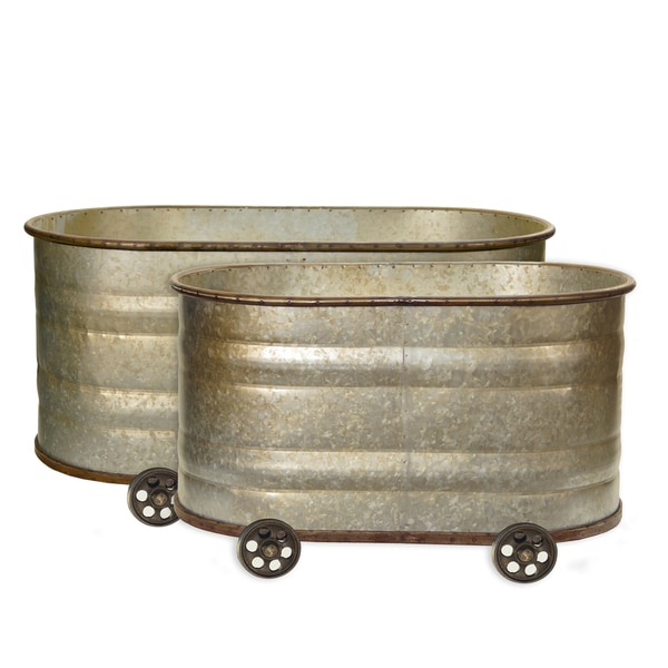 Metal Watering Troughs (Set of 2)