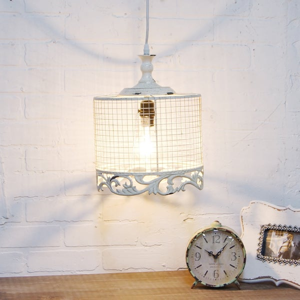 White Metal Pendant Light