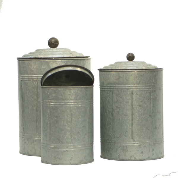 Silver Galvanized Metal Canisters With Lids (Pack of 3)