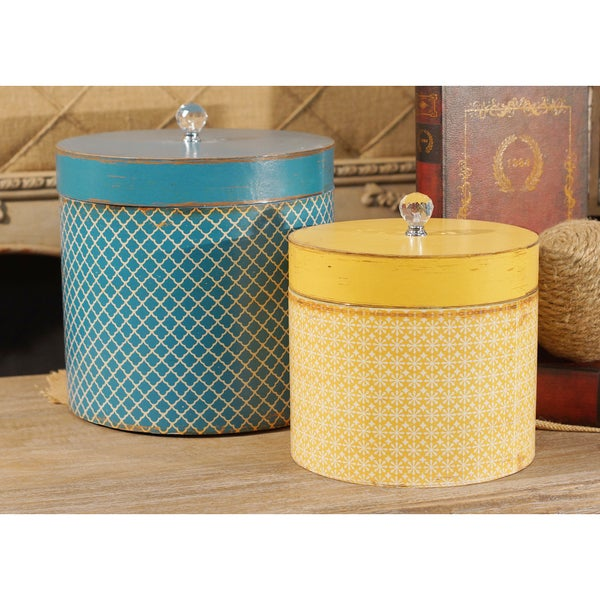 Blue/Yellow Wood Round Hat Boxes (Set of 2)