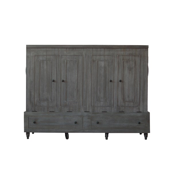 Queen Size Mobile Murphy Bed in Grey/White Finish