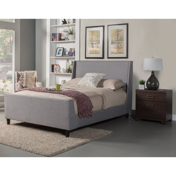 Alpine Furniture Amber Grey Wood Upholstered Panel Bed