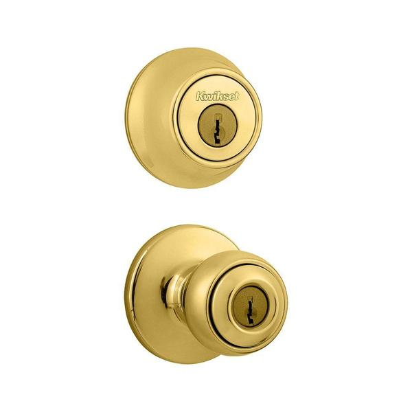 Kwikset Polo Double Cylinder Polished Brass Combo Pack Knob