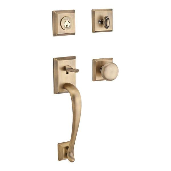 Baldwin Napa Single Cylinder Matte Brass and Black Traditional Square Handleset with Round Knob and Traditional Square Rose