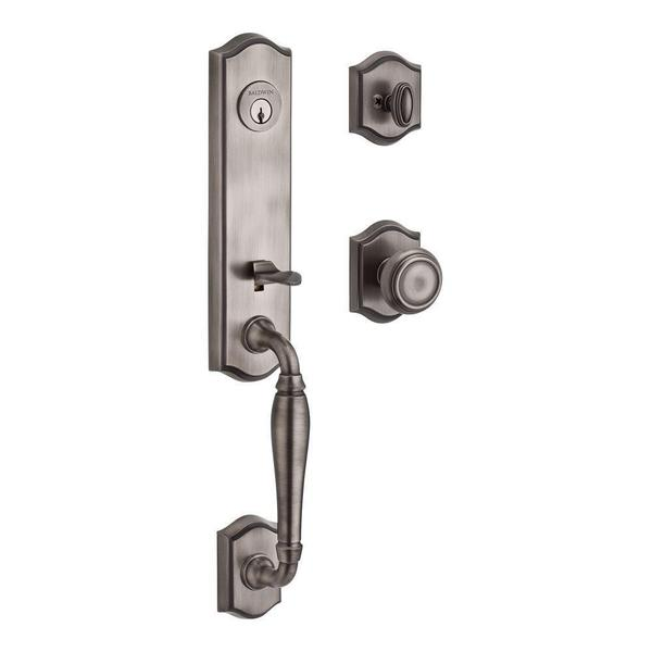 Baldwin New Hampshire Single Cylinder Matte Antique Nickel Handleset with Traditional Knob and Traditional Arch Rose