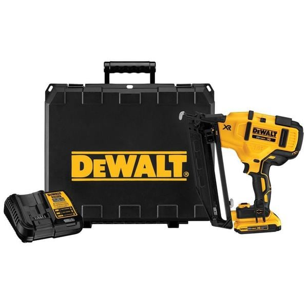 DEWALT Cordless 20-Volt Max 16-Gauge Angled Finish Nailer Kit