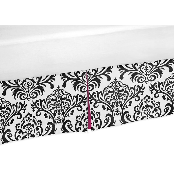 Sweet Jojo Designs Hot Pink, Black and White Isabella Queen-size Bedskirt