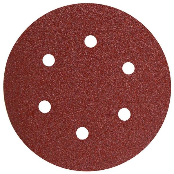 Bosch 6 in. 180-Grit Hook and Loop Sanding Disc with 6-Hole in Red (25-Pack)