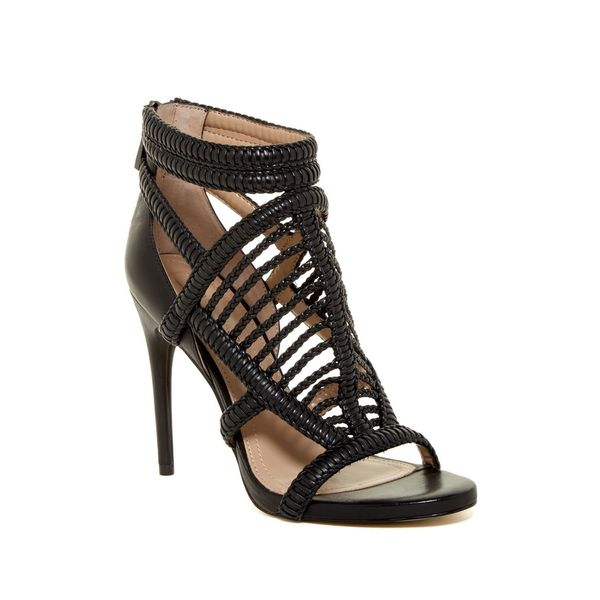 BCBG Max Azria Dori Black Leather Braided Caged Open-toe High Heel Sandals