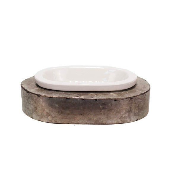 White/Grey Ceramic/Metal Soap Dish