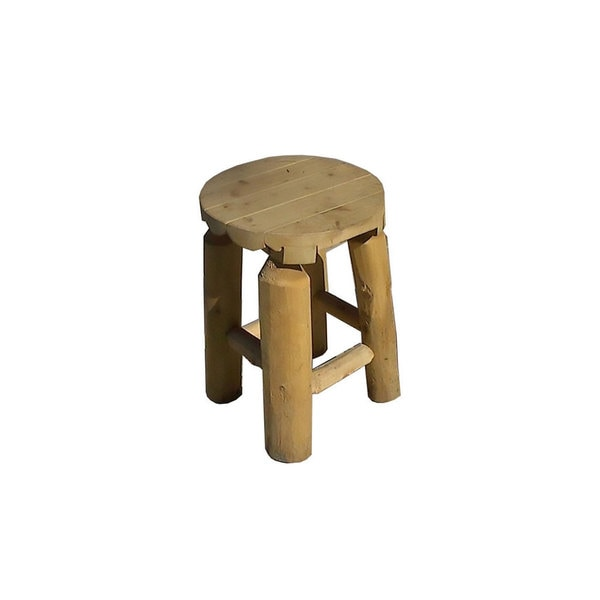 White Cedar Log Rustic Stool