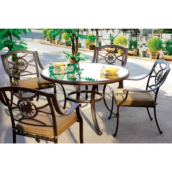 Darlee Ten Star Antique-bronze Cast-aluminum Dinng Set With Sesame Seat Cushions and Glass 48-inch Round Dining Table 21363199