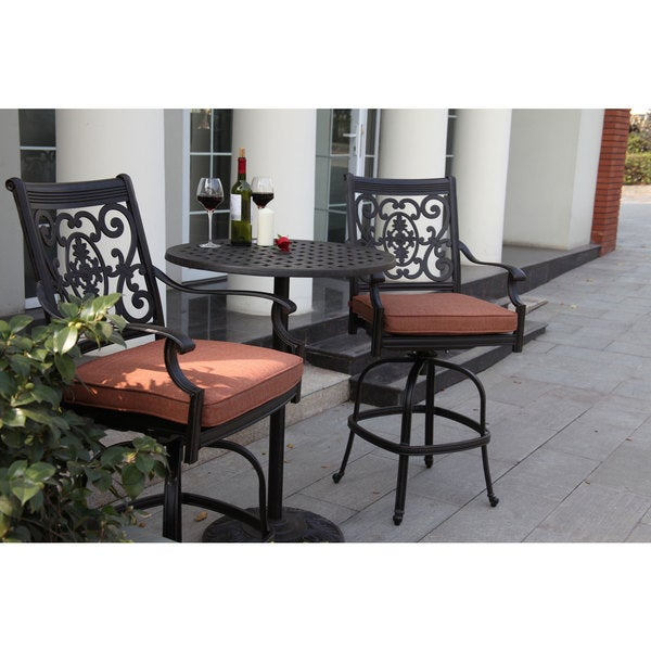 Darlee St.Cruz 3-piece Pedestal Bar Set with Seat Cushions