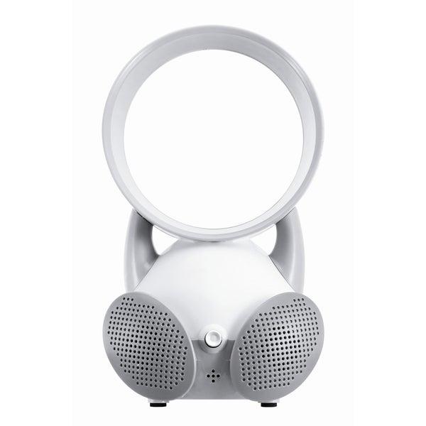 iBasics USB Bladeless Fan White Dual Speaker with Hands-Free Mic
