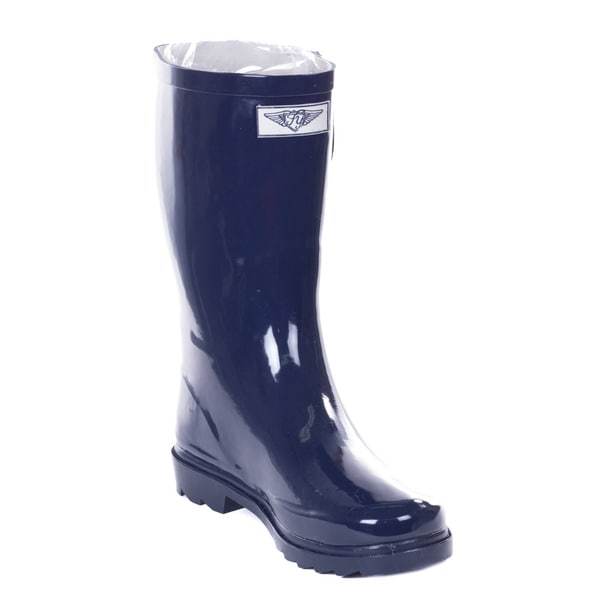 Women's Navy Blue Rubber 14-inch Mid-calf Rain Boots