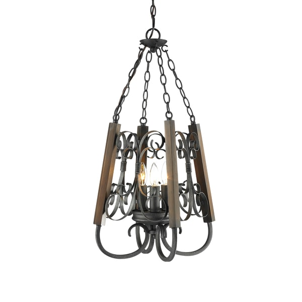 Golden Lighting Moreno Bronze Metal and Wood 3-light Pendant