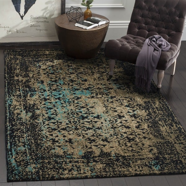 Safavieh Classic Vintage Black / Olive Cotton Rug (6' Square)