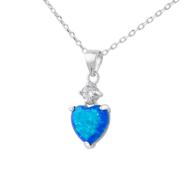 .925 Sterling Silver and Swarovski Elements Created Blue Opal Heart Pendant Necklace on 16-inch Link Chain