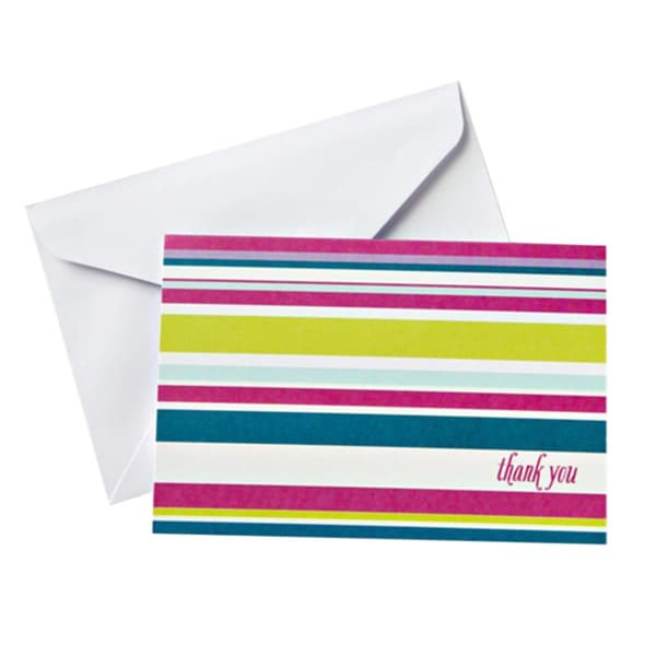 Cheery Stripes Thank You Cards and Envelopes (Pack of 10)