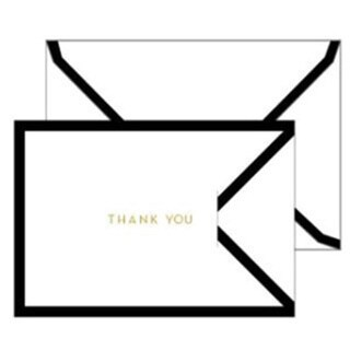 White and Black Border Tri-fold Thank You Cards (Case of 15)