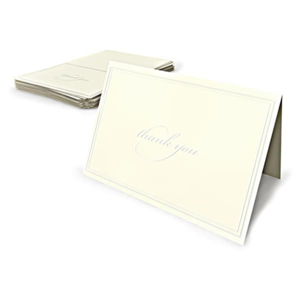 Ivory Pearl Border Thank You Cards (Case of 50)