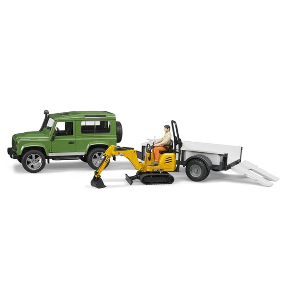 Bruder Toys Metal Land Rover with Trailer, JCB Micro Excavator and Worker