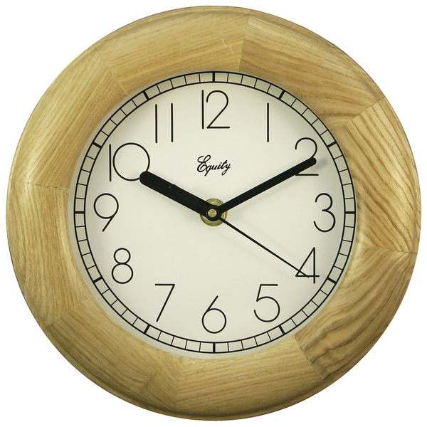 "Equity 24400 8"" Natural Wood Analog Wall Clock"