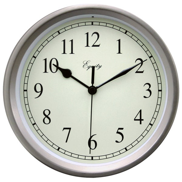 "Equity 28283 8"" Brushed Titanium Battery Operated Wall Clock"