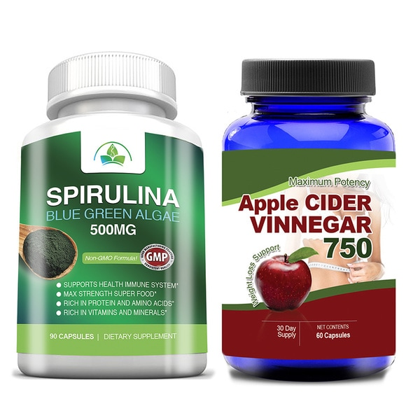 Apple Cider Vinegar and Spirulina 500mg Super Food Combo Pack
