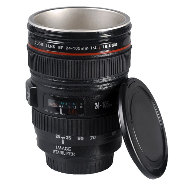 Black Plastic Camera Lens Mug