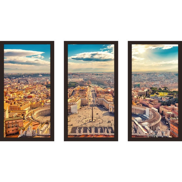 """Saint Peter's Square in Vatican, Rome"" Framed Plexiglass Wall Art Set of 3"