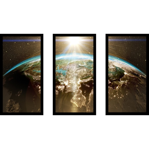 """Planet Earth - Europe"" Framed Plexiglass Wall Art Set of 3"