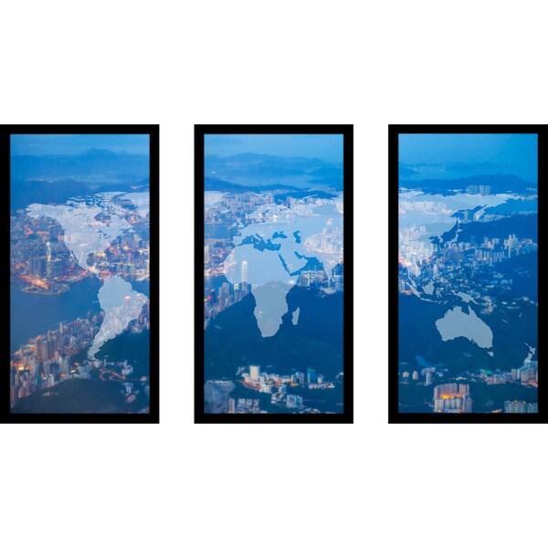 """""""Hong Kong island"""" Framed Plexiglass Wall Art Set of 3"""